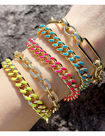 Fashion Dark Blue Dripping Oil Thick Chain Gold-plated Copper Bracelet