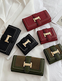 Fashion Short Red Studded Metal Buckle Flap Long Wallet