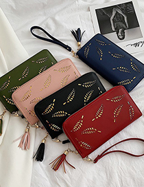 Fashion Pink Long Hollow Leaf Hand Wallet