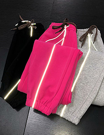 Fashion Rose Red Reflective Strip Stitching Contrast Color Drawstring Elastic Waist Bungee Pants