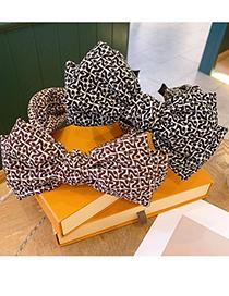 Fashion Black Bow-knot Printed Fabric Wide Brim Headband