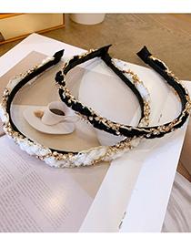 Fashion Black Rhinestone Cross-studded Braided Headband
