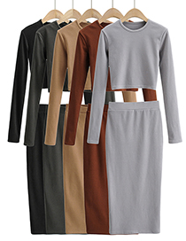 Fashion Khaki Pure Color Thick Brushed Round Neck Slim T-shirt And Skirt Suit