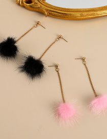 Fashion Pink Alloy Plush Ear Studs