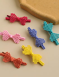 Fashion Pink Alloy Resin Bow Duckbill Hairpin
