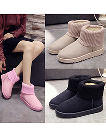 Fashion Pink Flat Snow Boots With Wool And Velvet