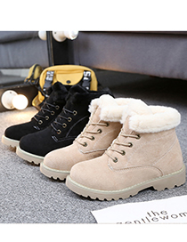 Fashion Apricot Plus Velvet Round Toe Thick Heel Lace Up Snow Boots