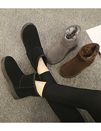 Fashion Brown Anti-slip Mid-step Thickened And Velvet Snow Boots