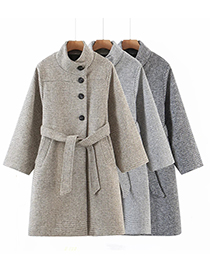 Fashion Khaki Woolen Belted Stand-up Collar Coat