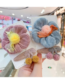 Fashion Pink Flower Series [2 Piece Set] Flower Cherry Wool Knitted Childrens Hair Rope Hairpin