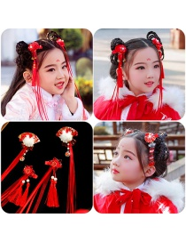 Fashion Red Hairball Leaves Handmade Knitted Flower Alloy Fabric Childrens Hairpin