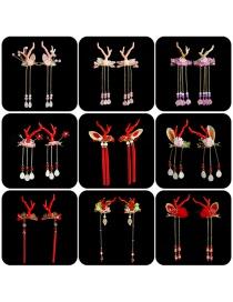 Fashion Red Antler Bell Christmas Antler Resin Flower Hairpin For Children