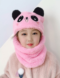 Fashion Blue Panda 3-8 Years Old Plush Panda Child One Scarf Hat