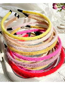 Fashion Beige Mohair Solid Color Hair Band