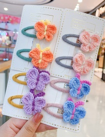 Fashion Blue Butterfly Hair Rope [1 Pair] Butterfly Wool Knitted Alloy Childrens Hairpin Hair Rope