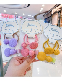 Fashion Blue Hairpin Hair Rope [3 Piece Set] Round Button Fabric Alloy Childrens Hairpin Hair Rope