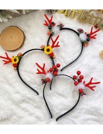 Fashion Apricot Santa Claus Christmas Antlers Santa Hair Ball Fabric Childrens Headband