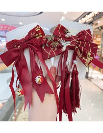 Fashion Red Fur Ball Bow Childrens Hairpin With Tassel Bow Knit Alloy