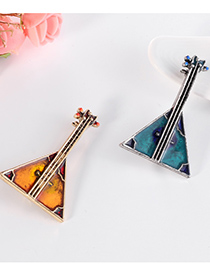 Fashion Blue Alloy Pipa Brooch