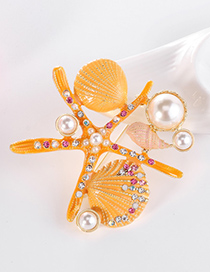 Fashion Yellow Alloy Diamond Conch Shell Pearl Brooch