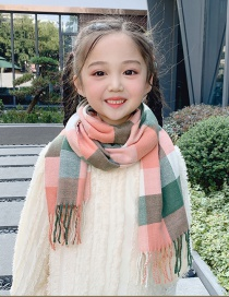 Fashion Khaki Small Double-faced Fleece Over 2 Years Old Check Cashmere Fringed Children Scarf