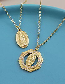 Fashion Gold Color Copper Inlaid Zircon Round Madonna Necklace