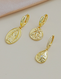 Fashion Gold Color Bronze Virgin Stud Earrings