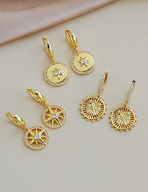 Fashion Gold Color Copper Inlaid Zircon Pointer Ear Studs