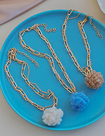 Fashion Blue Alloy Double Layer Plush Necklace