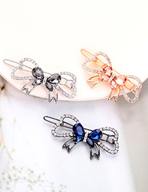 Fashion Ink-blue Colour Alloy Hollow Hairpin With Bow And Diamonds