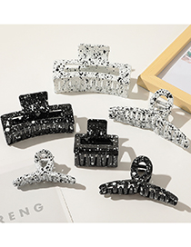 Fashion Ink Black And White Hairpin-large Cross Black Spray Paint Ink Cross Square Geometry Hollow Grip