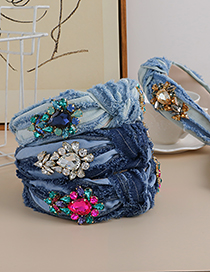 Fashion Champagne Denim Hair Band With Diamond And Water Drop Knot