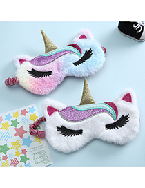 Fashion Color Unicorn Stitching Contrast Color Plush Childrens Eye Mask