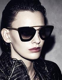 Fashion Bright Black Gray Flakes-plastic Legs Double Beam Metal Alloy Resin Sunglasses