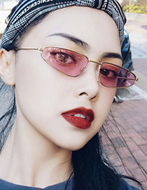 Fashion Gold Frame Yellow Film Small Frame Cat Eye Drop-shaped Alloy Sunglasses