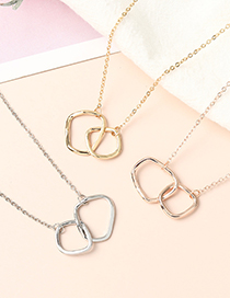 Fashion Rose Gold Buckle Geometric Alloy Necklace