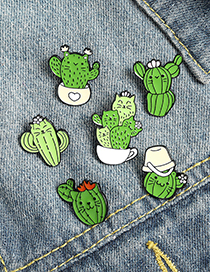 Fashion Cactus 6 Alloy Painted Plant Potted Cactus Brooch