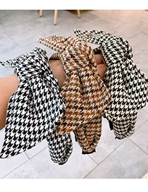 Fashion Black And White Houndstooth Houndstooth Large Bow Fabric Wide-brimmed Headband