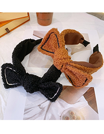 Fashion Coffee Color Lamb Hair Bow Broad-brimmed Headband