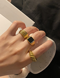 Fashion Multilayer Gold-plated Copper Ring With Thread Dripping Geometry