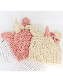 Fashion Beige Unicorn Woolen Knitted Children Hat