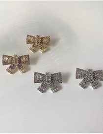 Fashion Gold Color Diamond-studded Butterfly Combined With Gold Earrings
