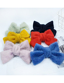 Fashion White Faux Rabbit Fur Big Butterfly Combined With Blond Hair Clip