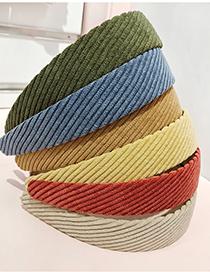 Fashion Brick Red Flat Corduroy Wide-brimmed Fabric Headband