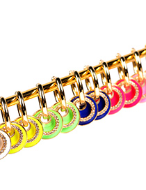 Fashion Pink Earrings Drop Oil Diamond Thick Chain Geometric Necklace Earrings Bracelet Set