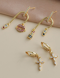 Fashion Gold Color Copper Inlaid Zircon Irregular Earrings