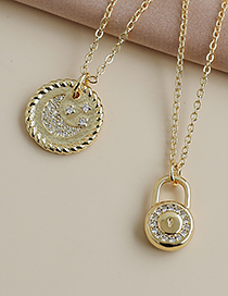 Fashion Gold Color Copper Inlaid Zircon Lock Necklace