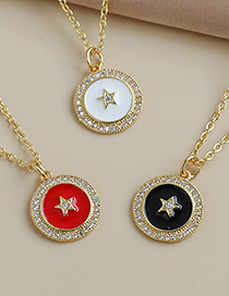 Fashion White Copper Inlaid Zircon Five-pointed Star Necklace