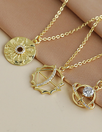 Fashion Gold Color Copper Inlaid Zircon Earth Necklace