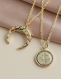 Fashion Gold Color Copper Inlaid Zircon Crescent Necklace